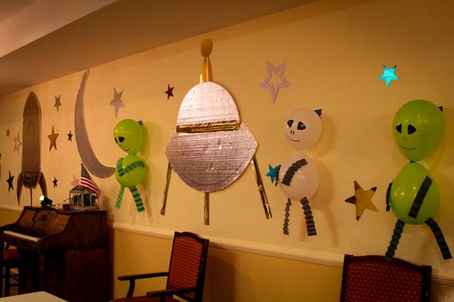 Outer space party 2015 newburgh healthcare center for Vintage outer space decor